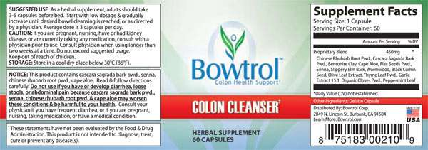 bowtrol colon cleanse ingredients